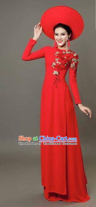 Asian Vietnam Costume Vietnamese Bride Trational Red Ao Dai Cheongsam Dress for Women