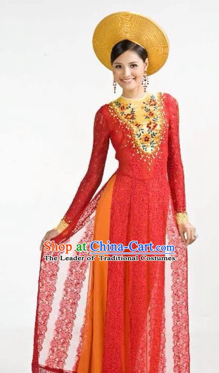 Asian Vietnam Costume Vietnamese Bride Trational Red Ao Dai Cheongsam Dress and Hats for Women