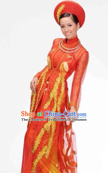 Asian Vietnam Costume Vietnamese Bride Trational Red Embroidered Ao Dai Cheongsam Dress and Hats for Women