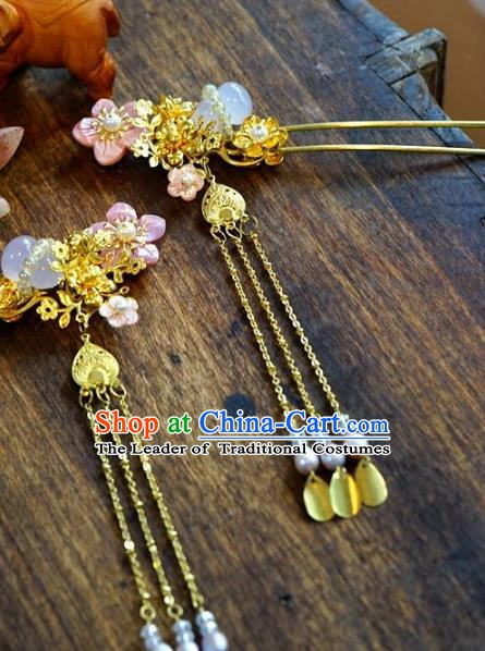 Chinese Handmade Classical Xiuhe Hair Accessories Step Shake Ancient Bride Hairpins for Women
