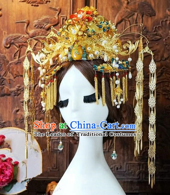 Chinese Handmade Classical Xiuhe Hair Accessories Luxurious Phoenix Coronet Ancient Hairpins for Women