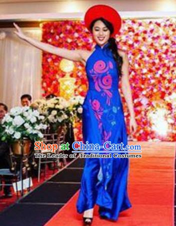 Asian Vietnam Costume Vietnamese Bride Trational Stage Performance Royalblue Ao Dai Cheongsam Dress for Women