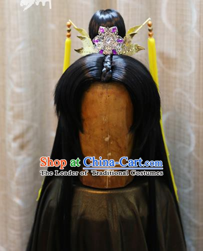China Ancient Tang Dynasty Cosplay Swordsman Wig Sheath
