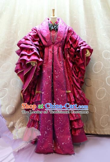 China Ancient Cosplay Princess Clothing Traditional Tang Dynasty Palace Lady Rosy Dress for Women