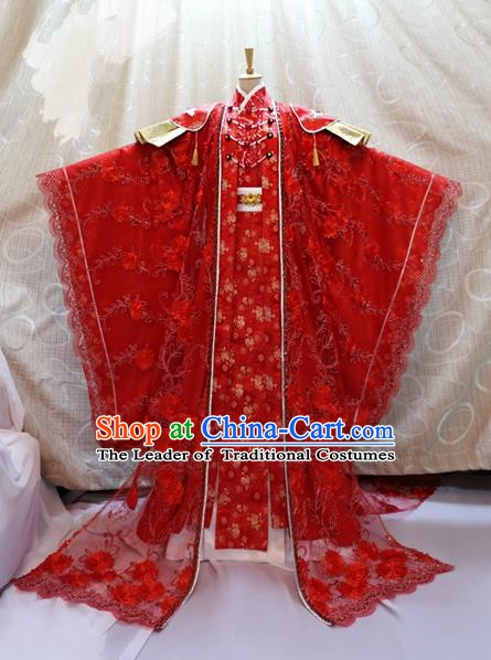 Ancient Traditional China Cosplay Tang Dynasty Palace Princess Wedding Costumes Red Dress for Women