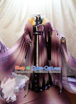 China Ancient Cosplay Queen Clothing Traditional Tang Dynasty Palace Lady Purple Dress for Women