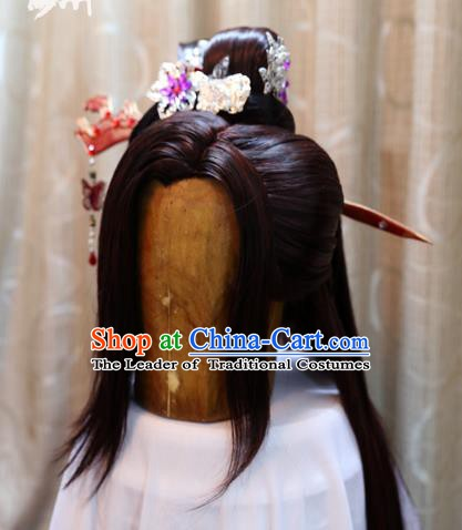 China Ancient Tang Dynasty Cosplay Swordswoman Wig Sheath and Hair Accessories Hairpins