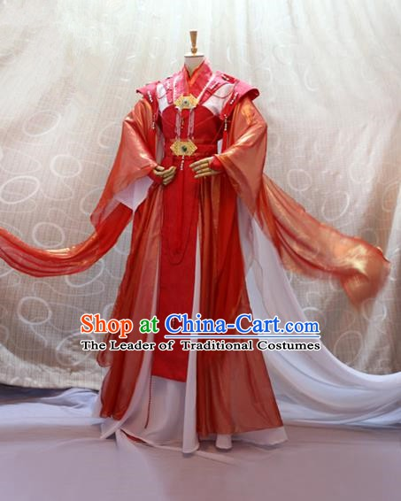 China Ancient Cosplay Queen Clothing Traditional Tang Dynasty Palace Lady Wedding Red Dress for Women