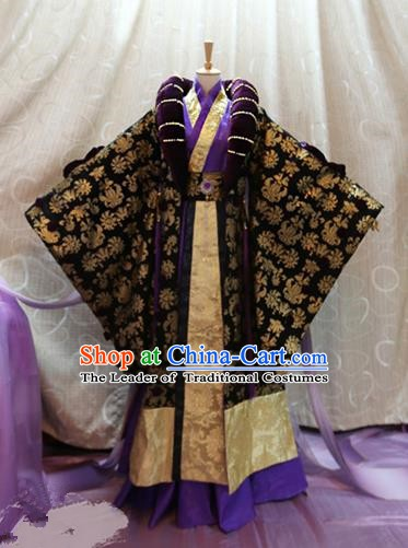 Ancient China Cosplay Tang Dynasty Imperial Emperor Purple Costumes Swordsman Knight Embroidered Clothing for Men