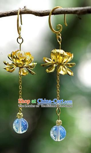Asian Chinese Traditional Handmade Jewelry Accessories Eardrop Bride Lotus Earrings for Women