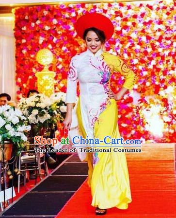 Asian Vietnam Costume Vietnamese Bride Trational Stage Performance Printing Ao Dai Cheongsam Dress for Women