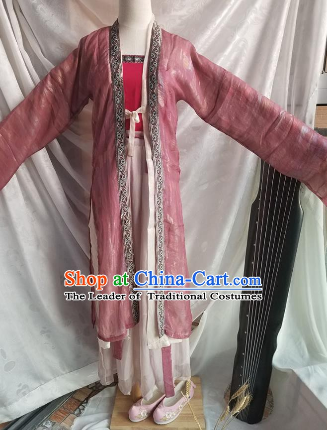 Ancient Chinese Song Dynasty Young Lady Costume, Ancient China Embroidered Clothing for Women