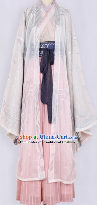 Ancient Chinese Jin Dynasty Palace Lady Costume, Ancient China Princess Embroidered Clothing for Women