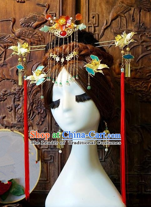 Chinese Handmade Classical Hair Accessories Ancient Tassel Phoenix Coronet Hairpins Complete Set for Women