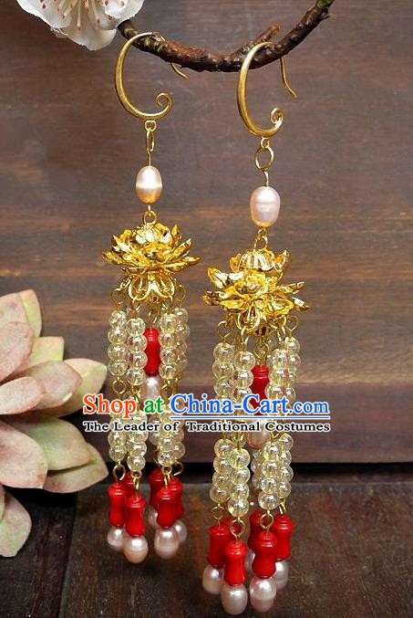 Asian Chinese Traditional Handmade Jewelry Accessories Eardrop Bride Lotus Tassel Earrings for Women