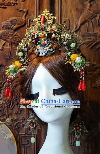 Chinese Handmade Classical Hair Accessories Ancient Bride Phoenix Coronet Hairpins Complete Set for Women