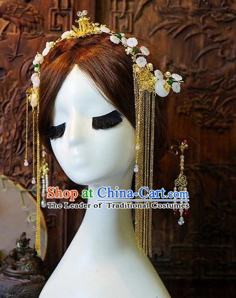 Chinese Handmade Classical Hair Accessories Ancient Hanfu Phoenix Coronet Hairpins Complete Set for Women