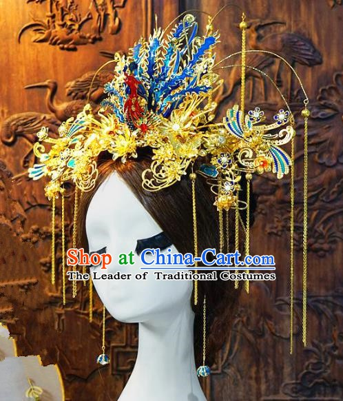 Chinese Handmade Classical Queen Luxurious Phoenix Coronet Hairpins Tassel Hair Accessories Ancient Bride Headwear for Women