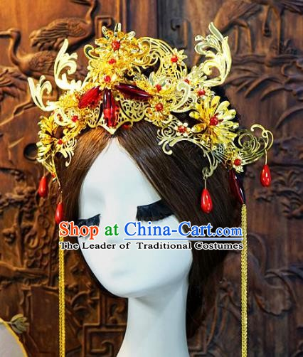 Chinese Handmade Classical Luxurious Tassel Phoenix Coronet Tassel Hair Accessories Ancient Bride Hairpins for Women