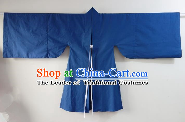 Ancient China Ming Dynasty Minister Costumes Blue Cape for Men