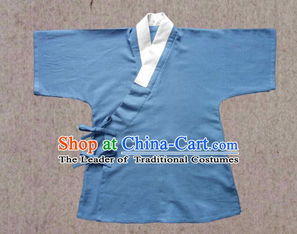 Ancient China Ming Dynasty Swordsman Costumes Hanfu Light Blue Shirts for Men