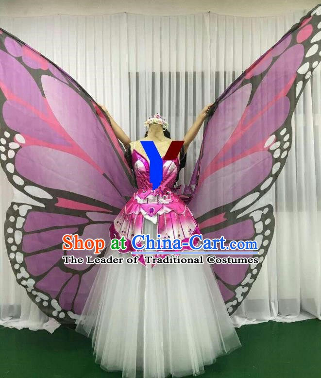Professional Modern Dance Stage Performance Dress Halloween Costume and Lilac Butterfly Wings for Women