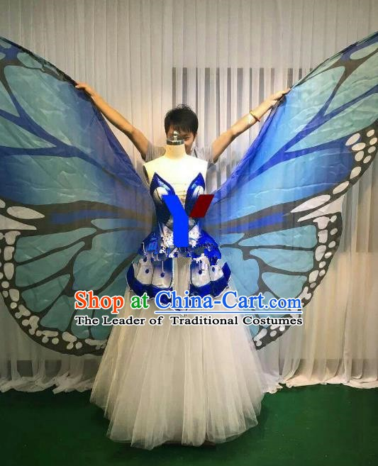 Professional Modern Dance Stage Performance Dress Halloween Costume and Blue Butterfly Wings for Women