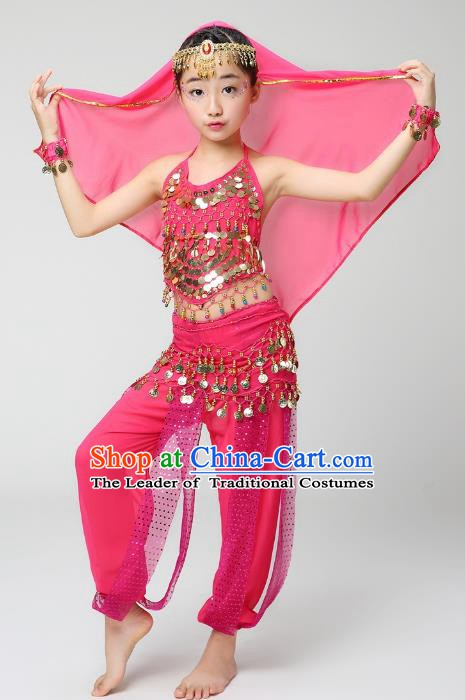 Traditional India Dance Pink Costume, Asian Indian Belly Dance Paillette Clothing for Kids