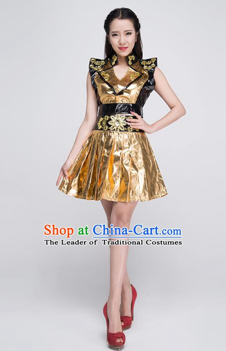 Professional Modern Dance Stage Performance Golden Dress Halloween Costume for Women