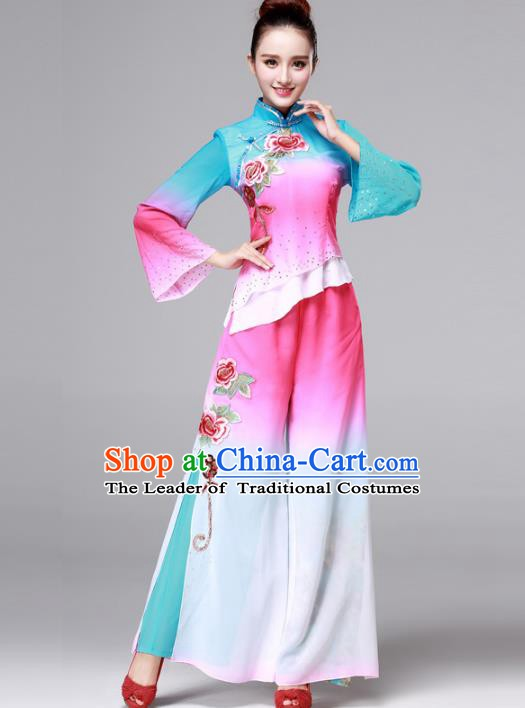 Traditional Chinese Yangge Fan Dance Costume, Folk Yangko Dance Drum Dance Pink Clothing for Women