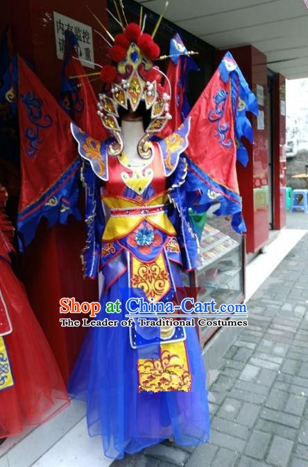Traditional Chinese Beijing Opera Magic Warriors Blue Costume, China Peking Opera Blues Clothing for Women