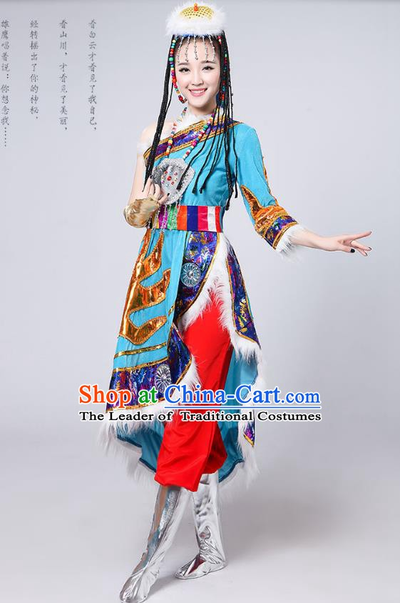 Traditional Chinese Mongol Nationality Dance Costume, Mongols Female Folk Dance Embroidery Light Blue Dress for Women
