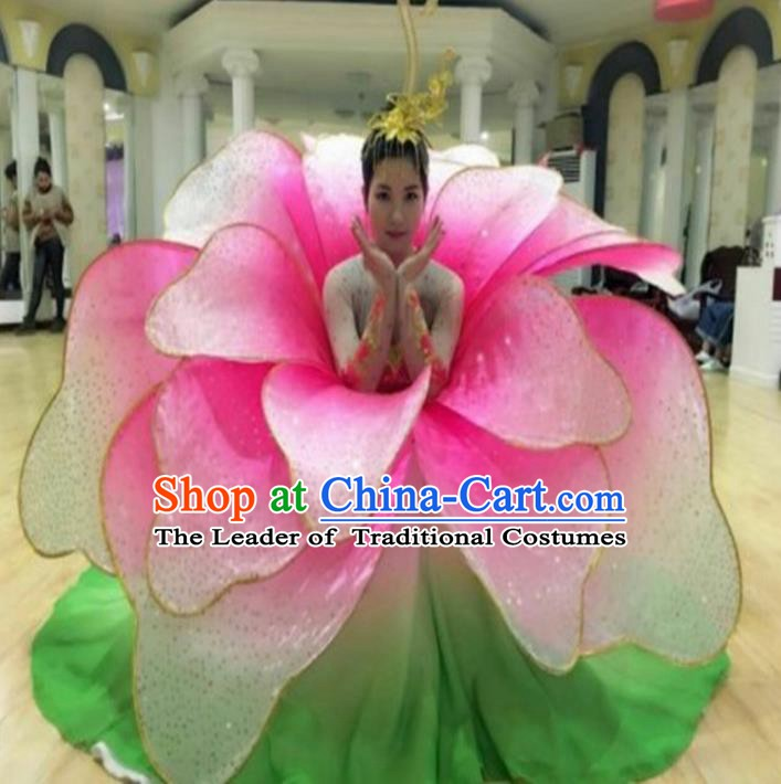 Professional Modern Dance Stage Performance Lotus Dance Dress Flowers Costume for Women