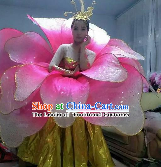 Professional Modern Dance Stage Performance Lotus Dance Dress Pink Flowers Costume for Women
