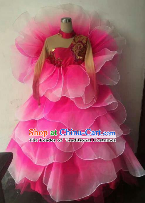 Professional Modern Dance Stage Performance Lotus Dance Embroidered Dress Pink Flowers Costume for Women