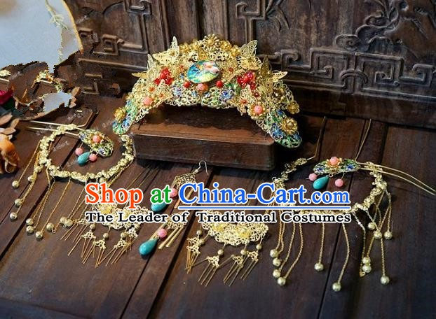 Chinese Handmade Classical Wedding Hairpins Ancient Hanfu Hair Accessories Golden Phoenix Coronet Set for Women