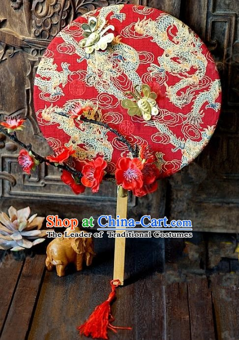 Chinese Handmade Classical Wedding Red Fans Ancient Palace Round Fans for Women