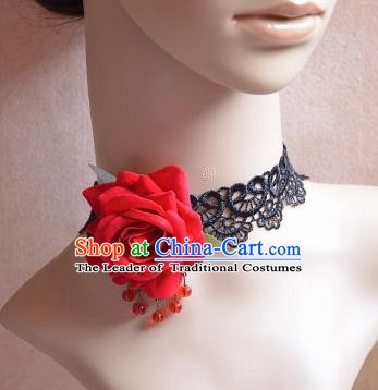 European Western Vintage Jewelry Accessories Renaissance Bride Red Rose Lace Necklace for Women