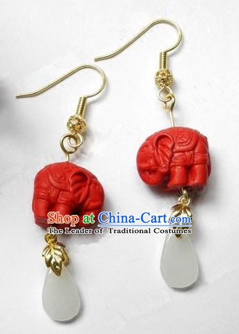 Asian Chinese Traditional Handmade Jewelry Accessories Jadeite Cinnabar Earrings for Women