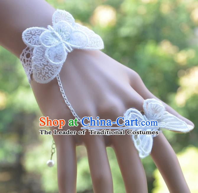 European Western Bride Vintage Jewelry Accessories Renaissance White Lace Butterfly Bracelet with Ring for Women