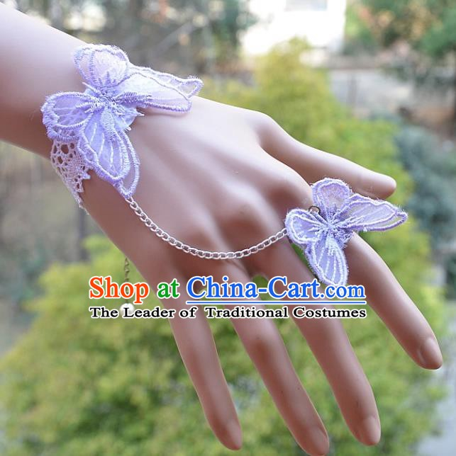 European Western Bride Vintage Jewelry Accessories Renaissance Purple Lace Butterfly Bracelet with Ring for Women