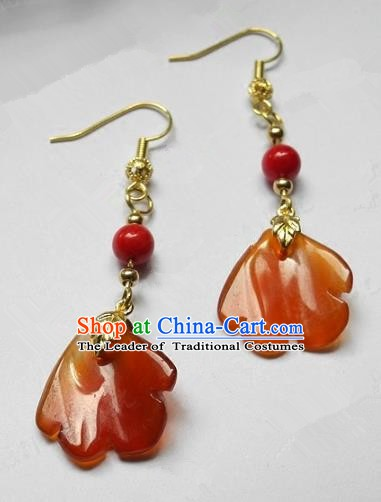 Asian Chinese Traditional Handmade Jewelry Accessories Agate Earrings for Women