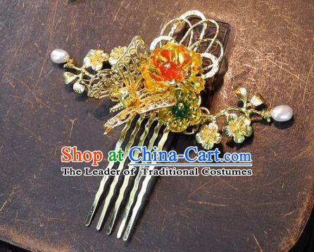 Chinese Handmade Classical Golden Hairpins Ancient Hanfu Hair Comb Headdress Hair Accessories for Women