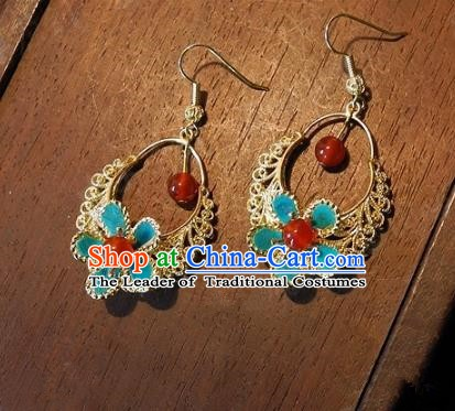 Asian Chinese Traditional Handmade Jewelry Accessories Tassel Blue Earrings for Women