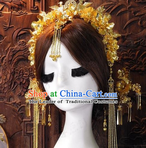 Chinese Handmade Classical Hairpins Ancient Hanfu Xiuhe Tassel Phoenix Coronet Hair Accessories for Women
