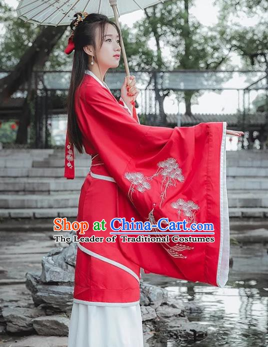 Traditional China Ancient Han Dynasty Princess Costume Red Embroidered Curving-front Robe for Women