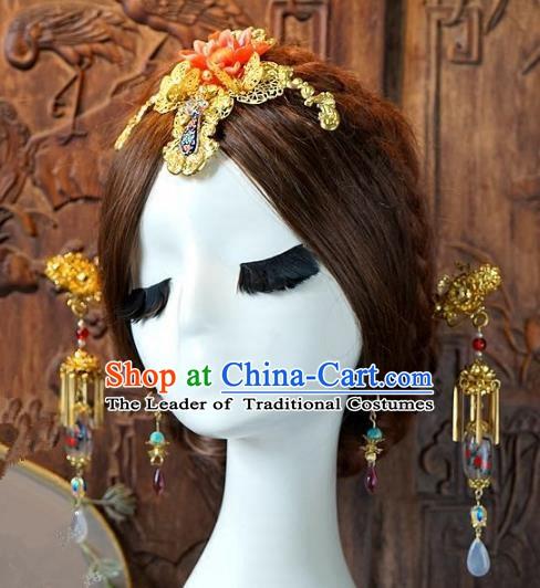 Chinese Handmade Classical Hair Accessories Ancient Hanfu Hairpins Xiuhe Suit Hair Stick Complete Set for Women