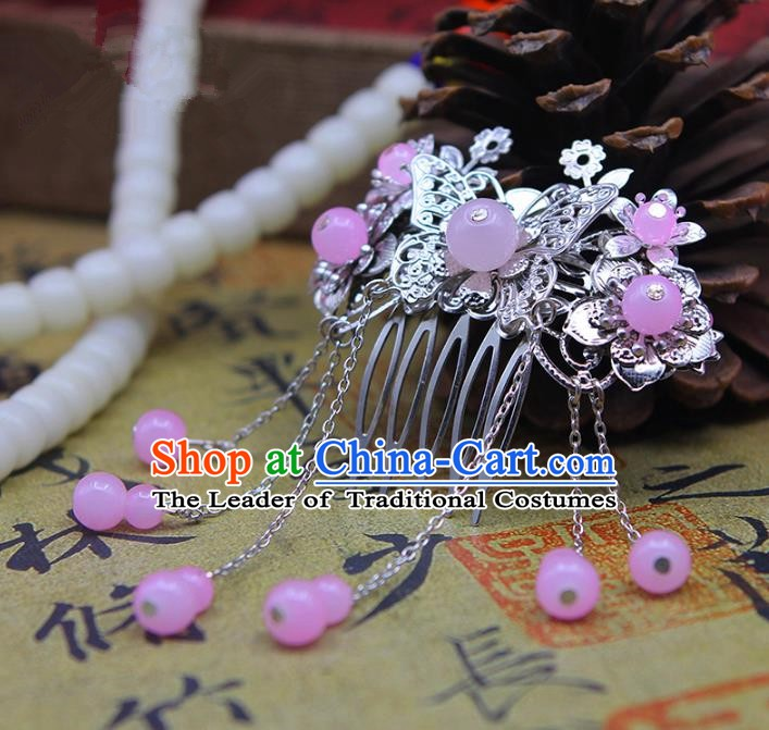 Handmade Chinese Ancient Palace Lady Hair Accessories Hanfu Hairpins Butterfly Hair Comb for Women