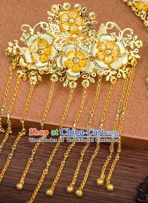 Handmade Asian Chinese Ancient Palace Lady Hair Accessories Hanfu Golden Tassel Hair Comb for Women