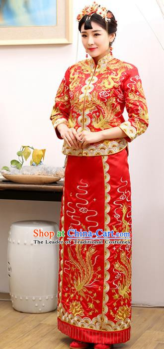 Traditional Ancient Chinese Costume Xiuhe Suits Wedding Embroidered Dragon and Phoenix Toast Cheongsam for Women